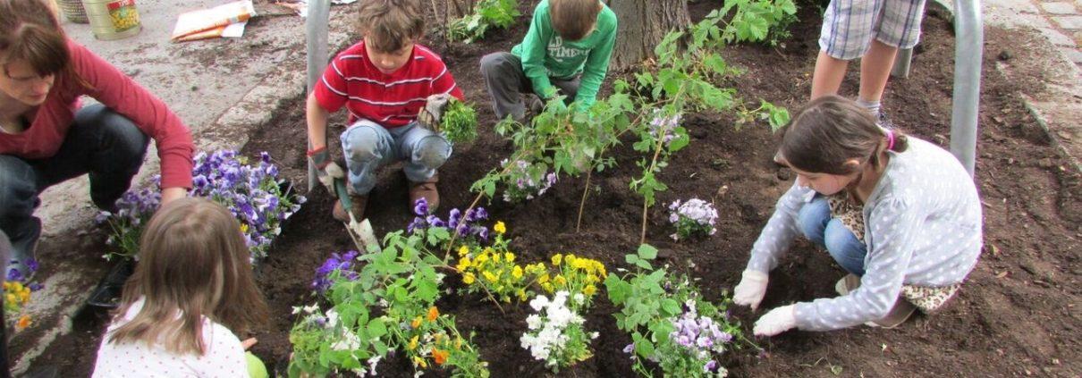 Kinder bepflanzen gemeinsam eine Baumscheibe in der Stadt